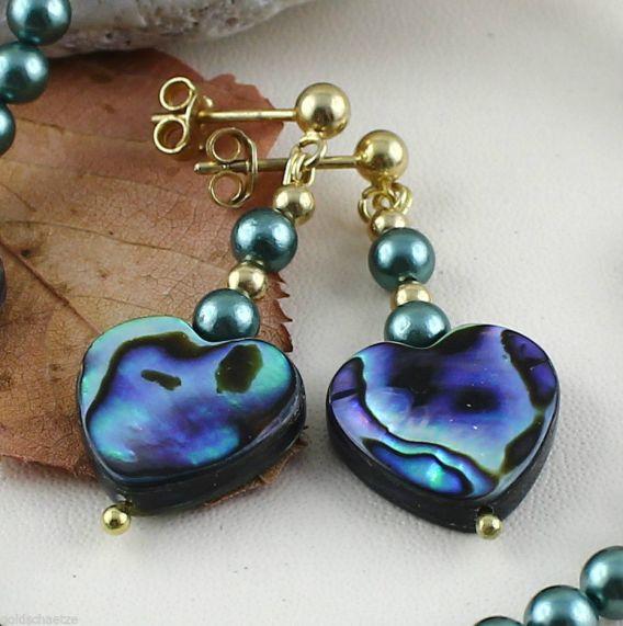Unikatowa biżuteria - kolczyki z perel Opal Paua i muszli Abalone 1