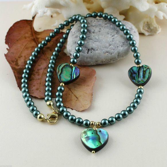 Unikatowa biżuteria - naszyjnik perlowy z muszla Abalone 1