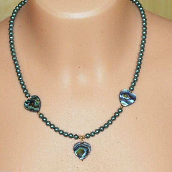 Unikatowa biżuteria - naszyjnik perlowy z muszla Abalone 3
