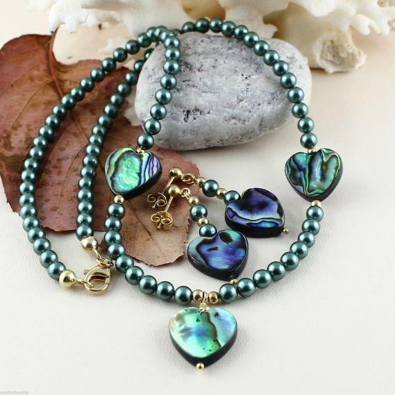 Unikatowa biżuteria - naszyjnik perlowy z muszla Abalone 5