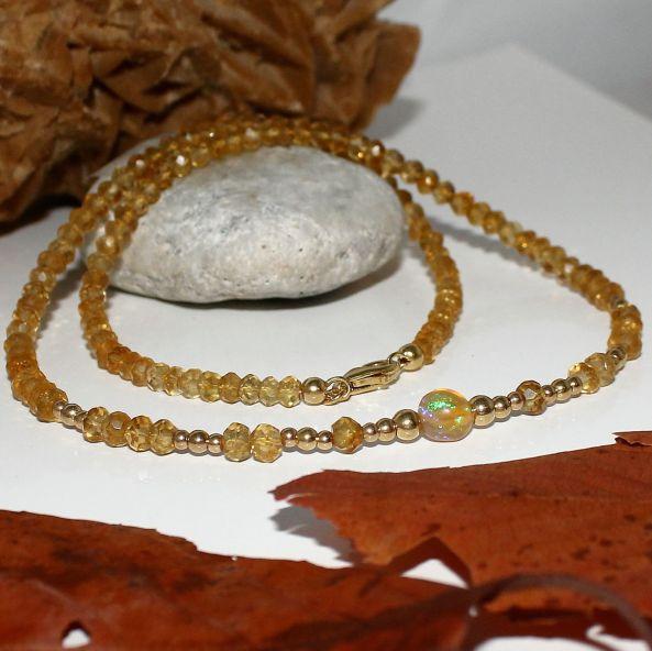 Unikatowa biżuteria - naszyjnik z cytrynu i Welo opal 1
