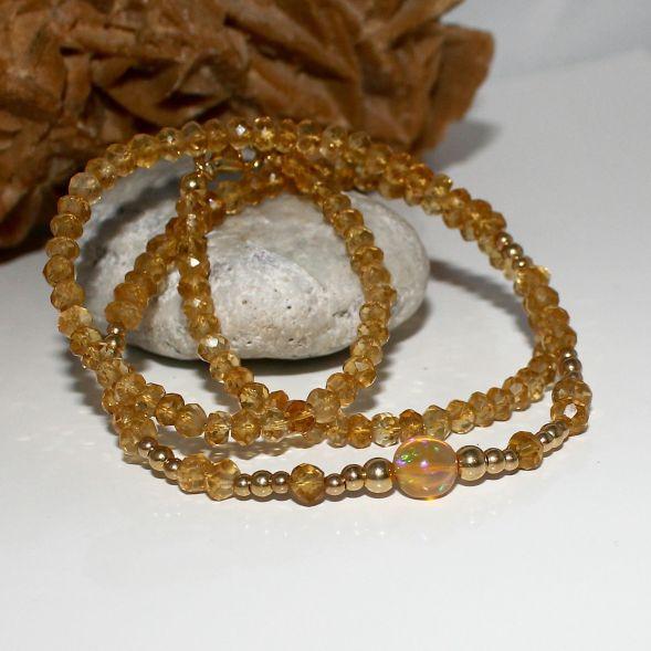 Unikatowa biżuteria - naszyjnik z cytrynu i Welo opal 3