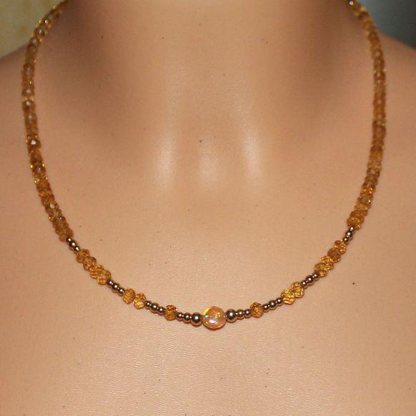 Unikatowa biżuteria - naszyjnik z cytrynu i Welo opal 5
