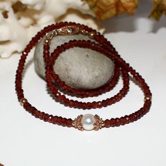 Unikatowa biżuteria - naszyjnik z granatu i perły Akoya 2