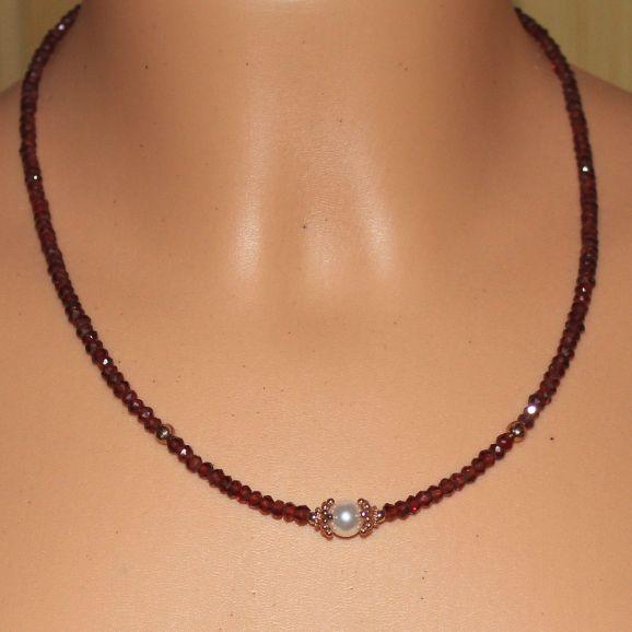 Unikatowa biżuteria - naszyjnik z granatu i perły Akoya 4