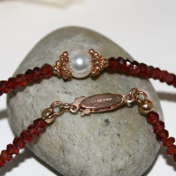 Unikatowa biżuteria - naszyjnik z granatu i perły Akoya 5