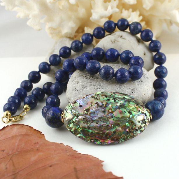 Unikatowa biżuteria - naszyjnik z lapis lazuli i muszli Abalone 3