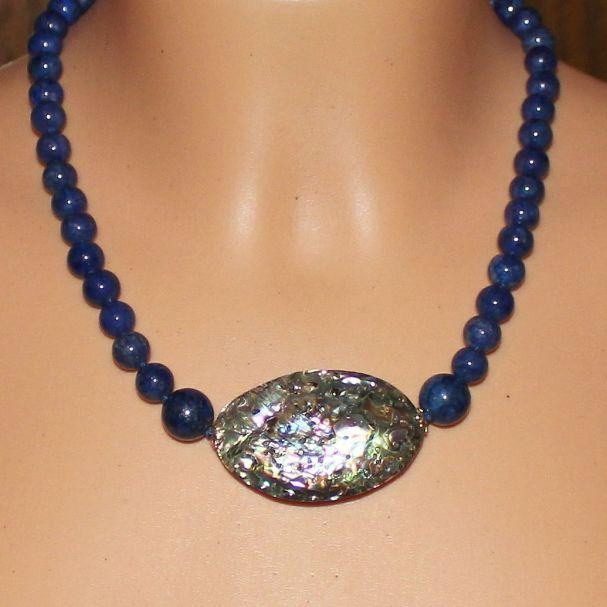 Unikatowa biżuteria - naszyjnik z lapis lazuli i muszli Abalone 4