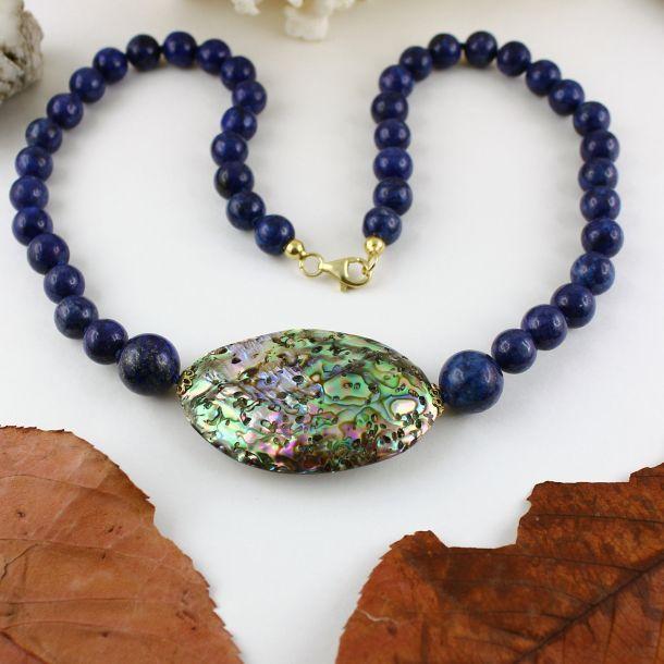 Unikatowa biżuteria - naszyjnik z lapis lazuli i muszli Abalone 6
