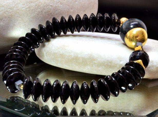 Bransoletka z onyxu, czarnego turmalinu, kwarcu kociego oka 1