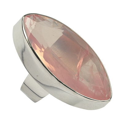 pierścień z kwarcu różowego Navette