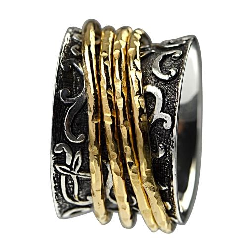 Ring mit 4 freilaufenden vergoldeten Ringen 1