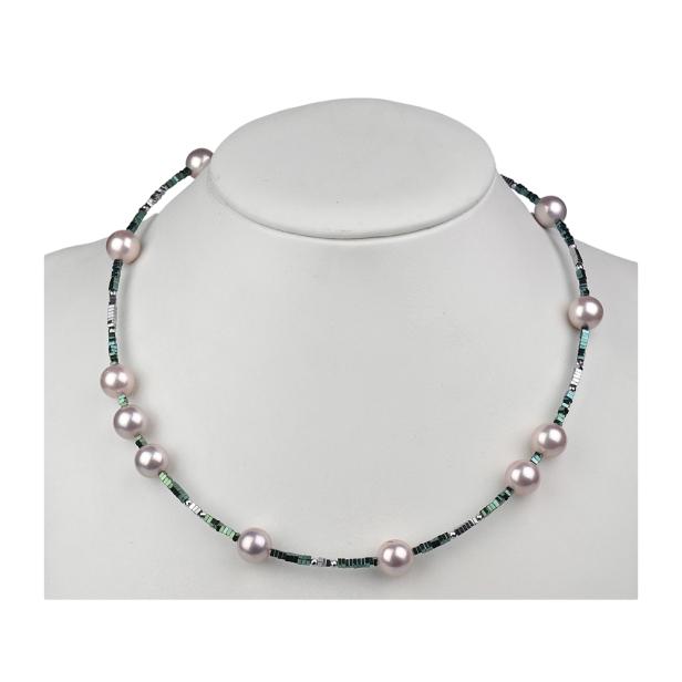 Naszyjnik z muszli perłowej i hematytów
