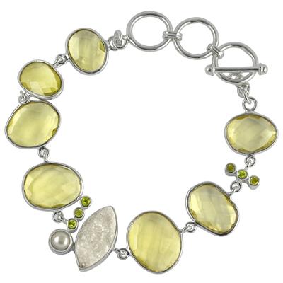 Armband Lemocitrin, Achat, Peridot und Perlen