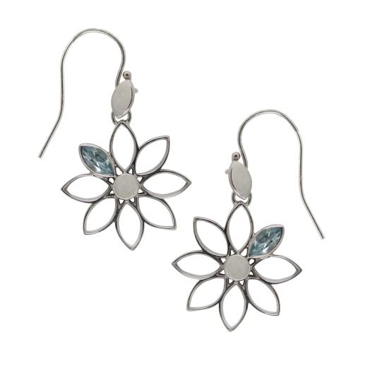Ohrhänger Blume Topas blau