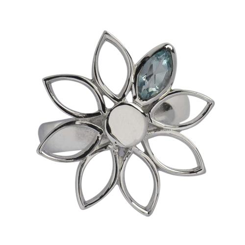 Ring Blume Topas blau