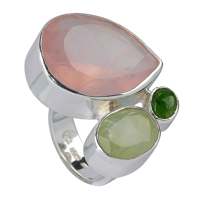 Ring Rosenquarz, Prehnit, Chromdiopsid