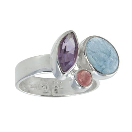 Ring Blau & Beere Amethyst, Aquamarin, Turmalin