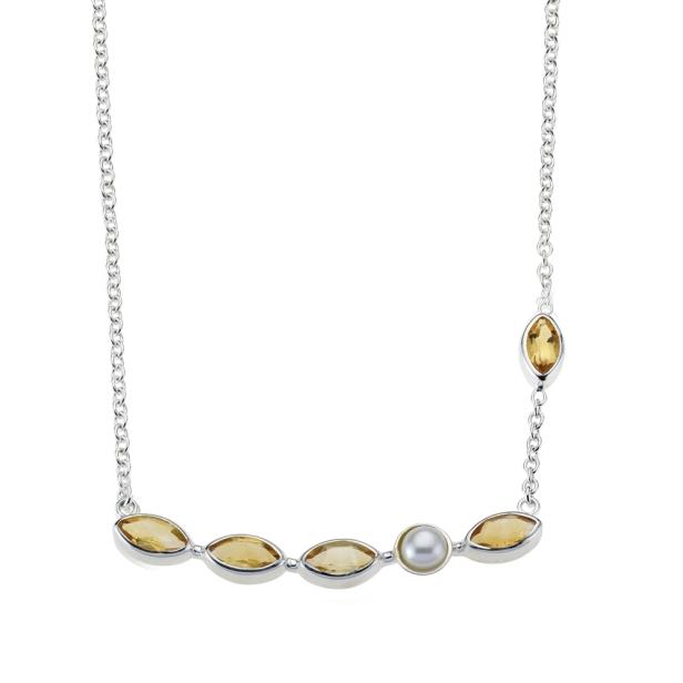 Collier Citrin und Perle